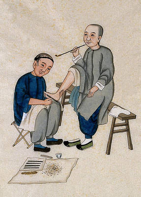 Painting - Chinese Foot Massage, 1890s by Wellcome Images
