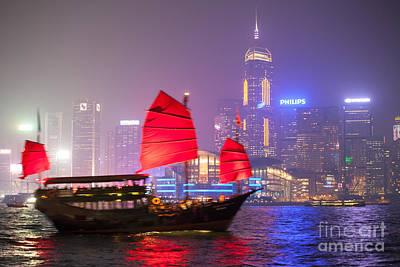 Junk Boat Photograph - Chinese Junk Sail In Hong Kong Harbor At Night by Matteo Colombo