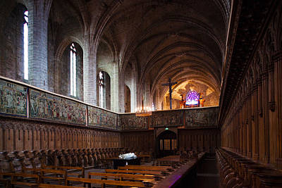 Chaise Photograph - Choir Stalls At Abbatiale Saint-robert by Panoramic Images