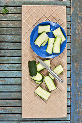 Zucchini Photograph - Chopped Courgette by Tom Gowanlock