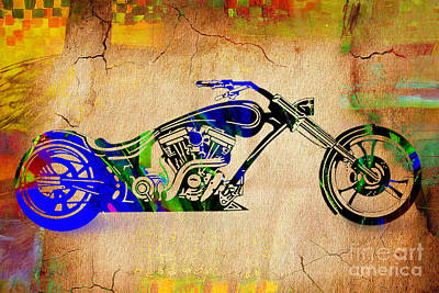 Bikes Mixed Media - Chopper Motorcycle by Marvin Blaine
