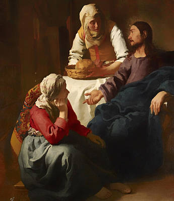 Christian Artwork Painting - Christ In The House Of Martha And Mary by Mountain Dreams