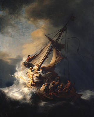 Landmarks Painting Royalty Free Images - Christ In The Storm On The Sea Of Galilee Royalty-Free Image by Rembrandt Van Rijn