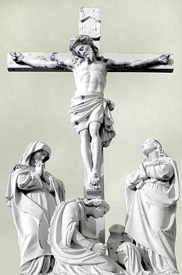 Christ On The Cross With Mourners Evansville Indiana 2006 Art Print by John Hanou