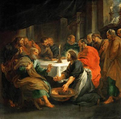 Christ Washing Peters Feet Painting - Christ Washing The Apostles' Feet by Peter Paul Rubens