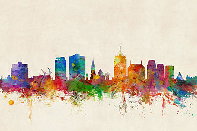 New Zealand Digital Art - Christchurch New Zealand Skyline by Michael Tompsett