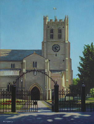 Stone Buildings Painting - Christchurch Priory by Martin Davey