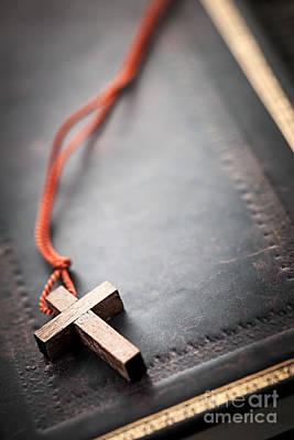 Beers On Tap - Christian Cross on Bible by Elena Elisseeva