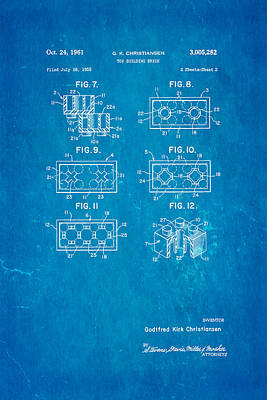 Christiansen Lego Toy Building Block Patent Art 1961 Art Print by Ian Monk
