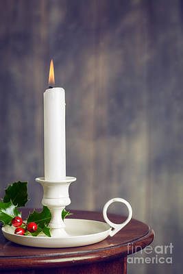 Candlestick Photograph - Christmas Candle by Amanda Elwell