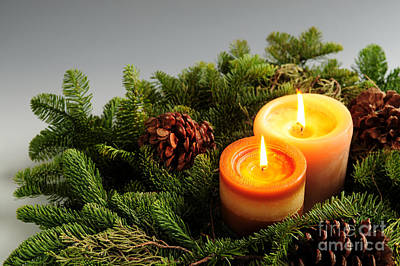 Wreath Photograph - Christmas Candles by Elena Elisseeva