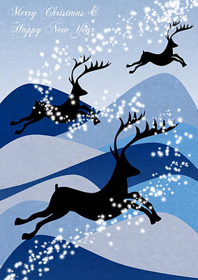 Deer Digital Art - Christmas Card 2 by Mark Ashkenazi