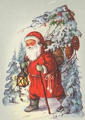 Santa Claus Painting - Christmas Card by Dutch School
