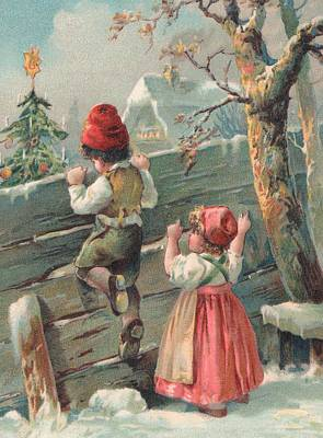 Antique Look Painting - Christmas Card  by French School