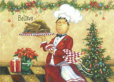 Italian Kitchen Painting - Christmas Chef by Vickie Wade