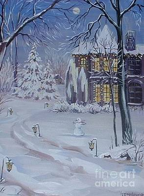 Snowy Night Painting - Christmas Cottage by Margaryta Yermolayeva