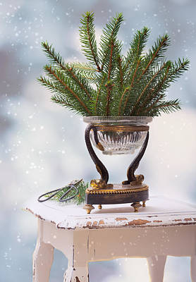 Falling Snow Photograph - Christmas Decoration by Amanda Elwell