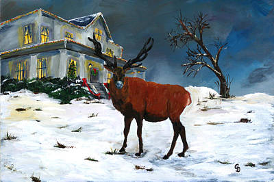 Christmas Elk Art Print by Gail Daley