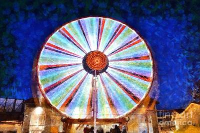 Painting - Christmas Ferris Wheel by George Atsametakis