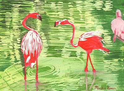 Painting - Christmas Flamingos by Mickey Krause
