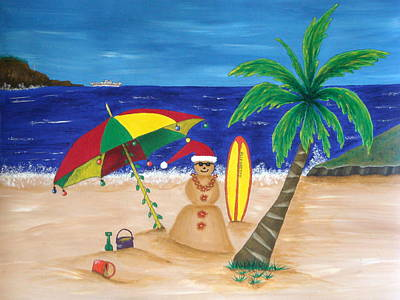 Christmas In Kona Art Print by Pamela Allegretto