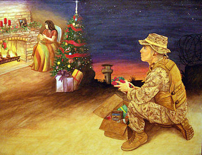 Corps Drawing - Christmas On Deployment by Annette Redman