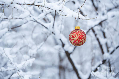 Snowstorm Photograph - Christmas Ornament In The Snow by Diane Diederich