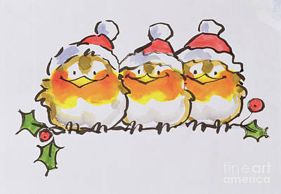 Winter Fun Painting - Christmas Robins  by Diane Matthes