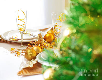 Banquet Photograph - Christmas Table Setting by Anna Om