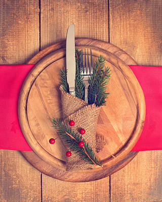 Photograph - Christmas Table Setting by Amanda Elwell