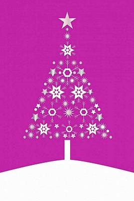Digital Art - Christmas Tree Made Of Snowflakes On Pink Background by Tracey Harrington-Simpson