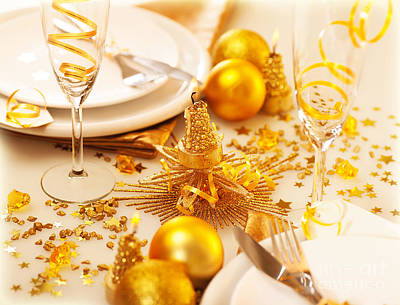 Banquet Photograph - Christmastime Table Decoration by Anna Om