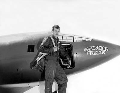 Military Uniform Photograph - Chuck Yeager And Bell X-1 by Underwood Archives