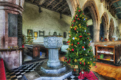 Church At Christmas Art Print