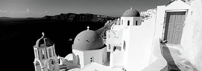 Sea And Sky Photograph - Church In A City, Santorini, Cyclades by Panoramic Images