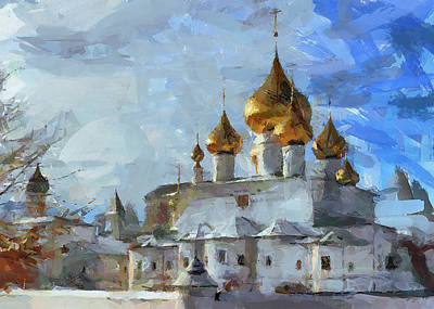 Moscow Digital Art - Church In Winter by Yury Malkov