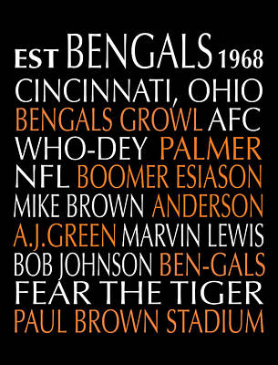 Digital Art - Cincinnati Bengals by Jaime Friedman