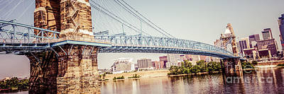 Roebling Bridge Photograph - Cincinnati Bridge Retro Panorama Photo by Paul Velgos
