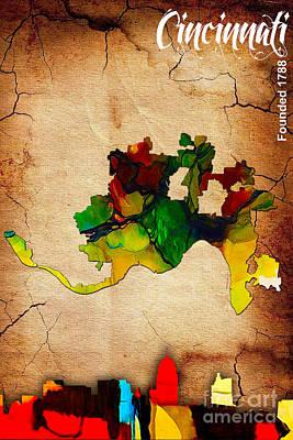 Cincinnati Map And Skyline Watercolor Art Print by Marvin Blaine