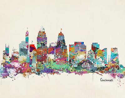 Cincinnati Skyline Wall Art - Painting - Cincinnati Ohio Skyline by Bleu Bri