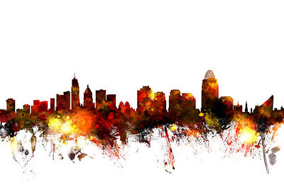 Watercolor Photograph - Cincinnati Ohio Skyline by Michael Tompsett