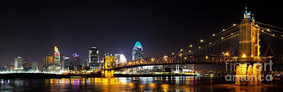 Roebling Bridge Photograph - Cincinnati Ohio  Skyline by Twenty Two North Photography
