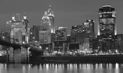 After Midnight Photograph - Cincinnati Over The Ohio River by Frozen in Time Fine Art Photography