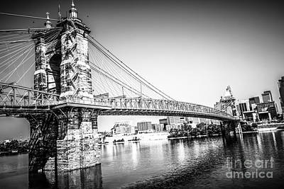 Old Brick Building Photograph - Cincinnati Roebling Bridge Black And White Picture by Paul Velgos