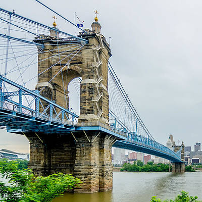 Photograph - Cincinnati Skyline And Historic John A. Roebling Suspension Brid by Alex Grichenko