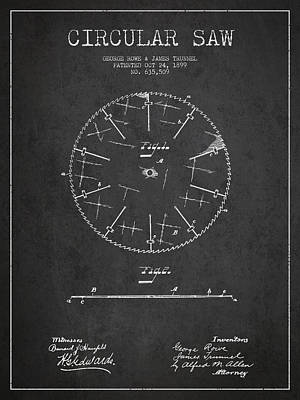 Circular Saw Patent Drawing From 1899 Art Print