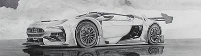Racecar Drawing - Citrogen Gt Racecar by Gary Reising