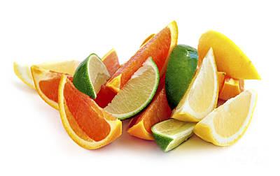 Tropical Photograph - Citrus Wedges by Elena Elisseeva