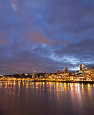 Sutton Photograph - City Lights Reflected In The Willamette by William Sutton