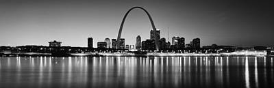 Mississippi River Photograph - City Lit Up At Night, Gateway Arch by Panoramic Images